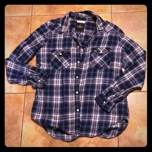 American eagle plaid snap button up shirt